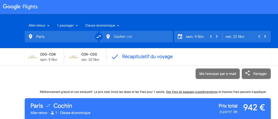 Google Flight : pour trouver le billet le moins cher entre Paris et Cochin