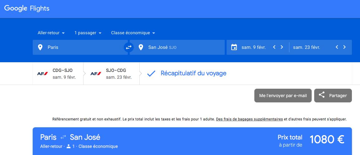 Google Flight : pour trouver le billet le moins cher entre Paris et San José au Costa Rica sans escale