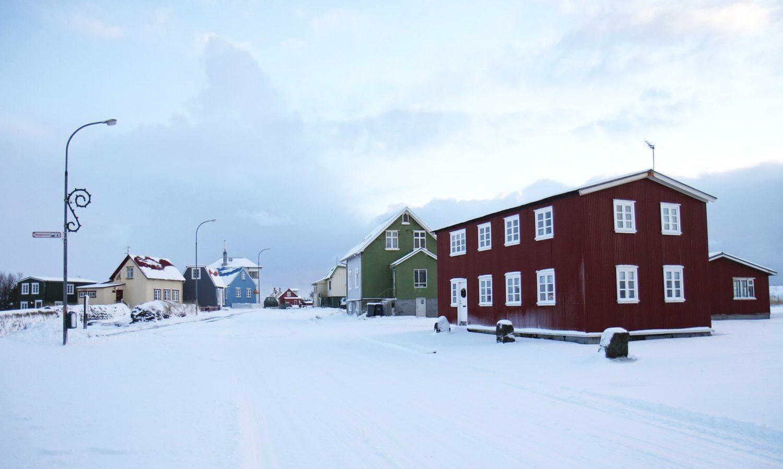 maisons dans la neige en islande
