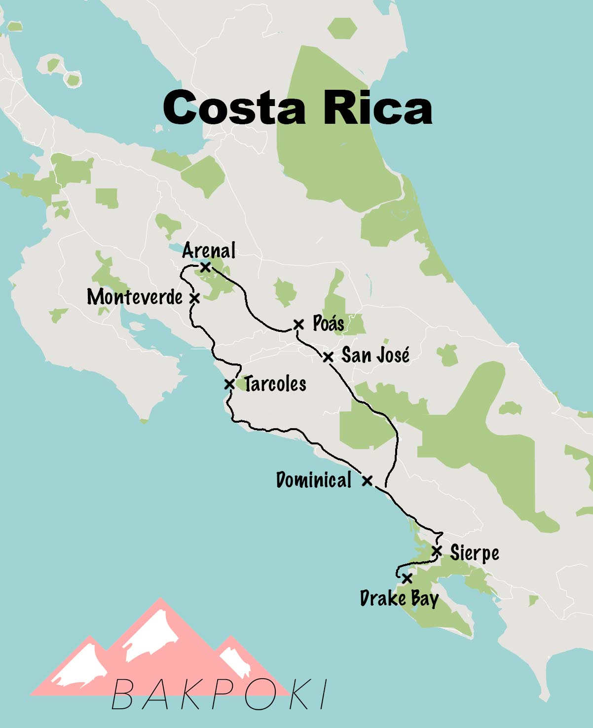Carte de road-trip au Costa Rica