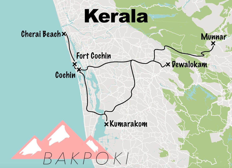 Carte du circuit de notre road-trip au Kerala