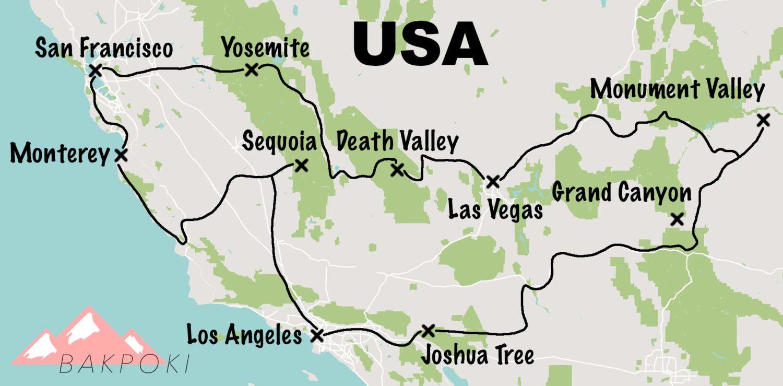 carte ititinéraire road trip ouest usa
