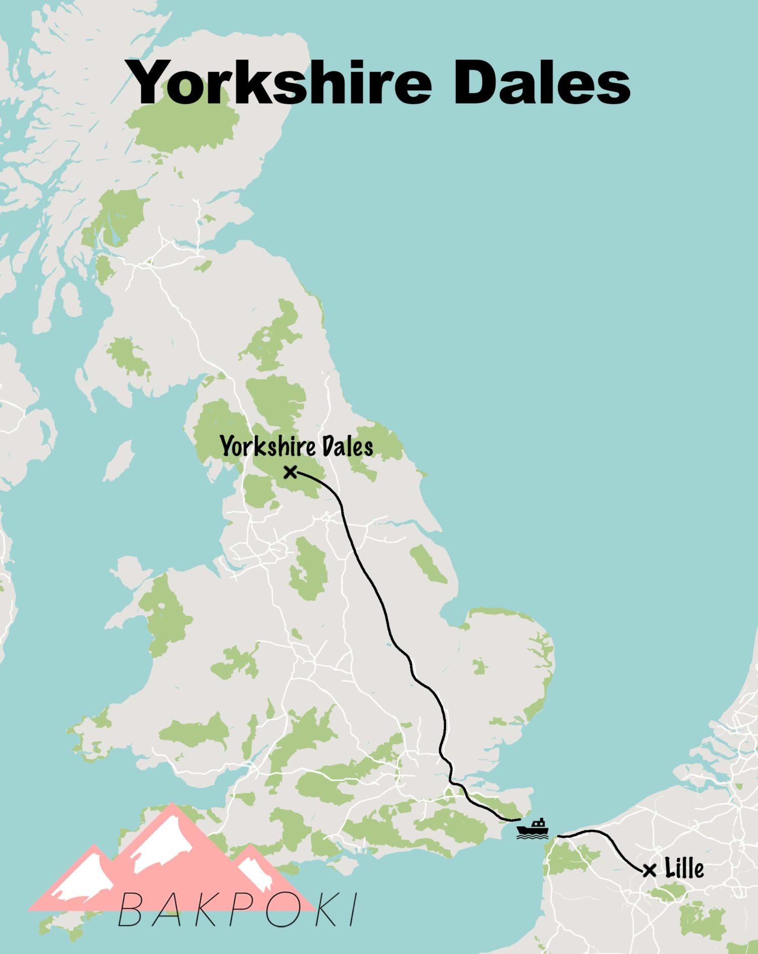 Carte voyage Yorkshire Dales
