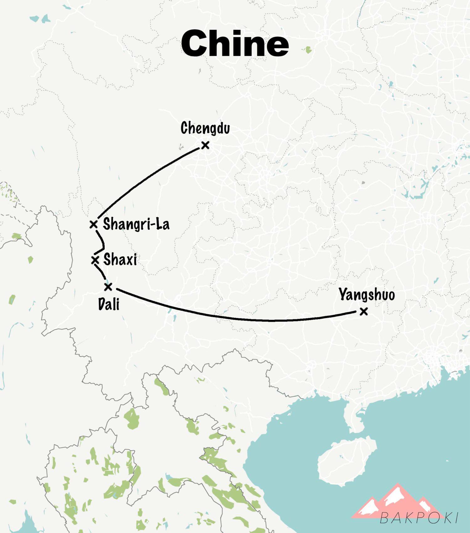 carte itinéraire chine en famille